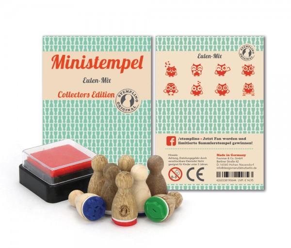 Holz-Stempel Eulen Mix 8 Stück mini