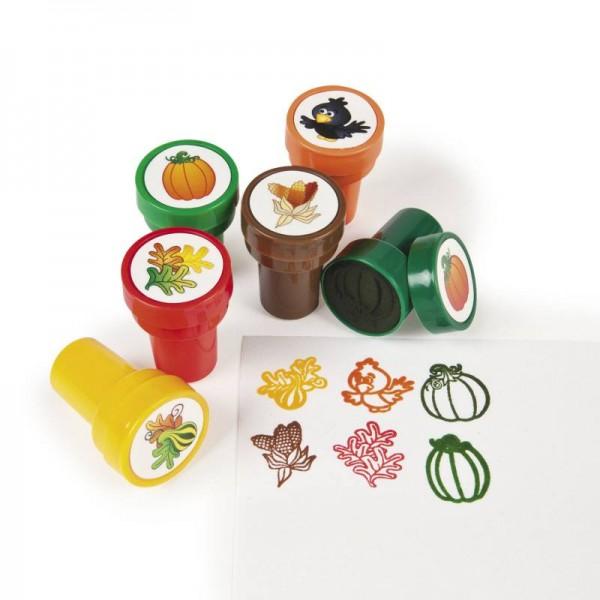 Kinderstempel Rabe Kürbis Mais und Blätter in 6 verschiedenen Motiven
