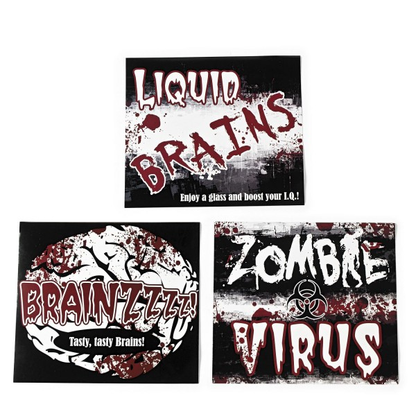 Halloween Horror Flaschenetiketten in 3 gruseligen Motiven 12 Stück