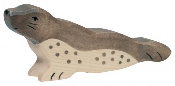 Robbe Kopf hoch Meerestiere Holzfigur Holzspielzeug von Holztiger