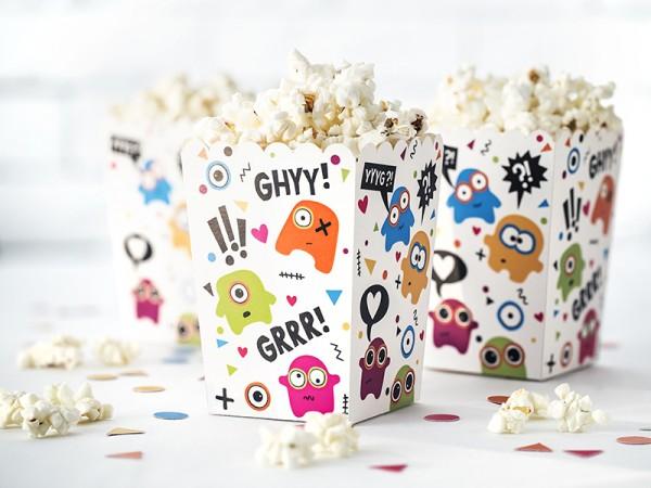 Lustige Monster Popcorn Boxen Tüten Kindergeburtstag 6 Stück