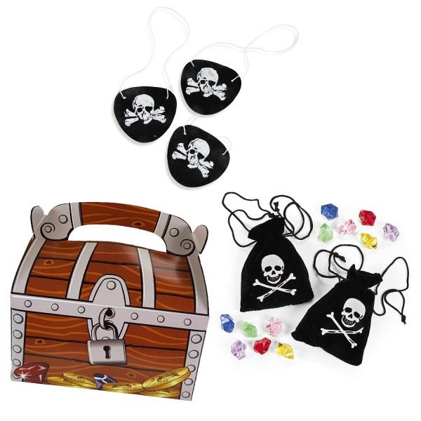 Piraten Party Set Schatzkiste Schatzbeutel mit Edelsteinen und Augenklappen je 12 Stück