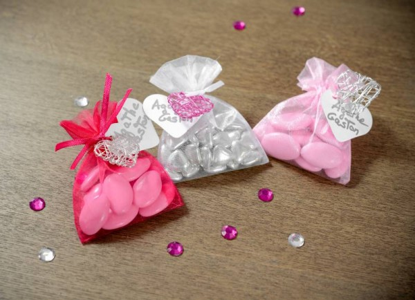 Organzabeutel Organzasäckchen rosa 7,5cm x 10cm für Hochzeitsmandeln und Gastgeschenke 10 Stück