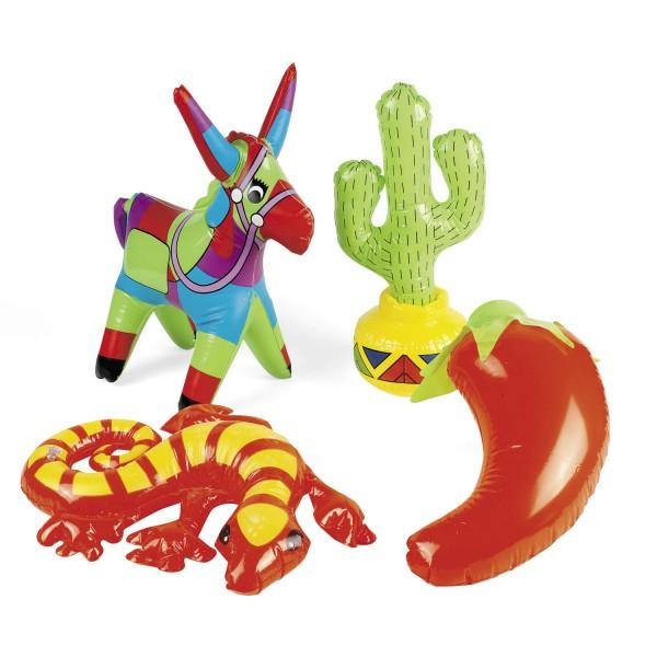 Fiesta Beachparty Set mit aufblasbarem Esel Gecko Kaktus Chilli 4 Stück