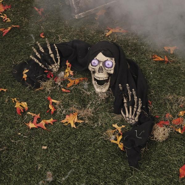 Totenschädel mit LED Augen und Skeletthänden Bodendekoration