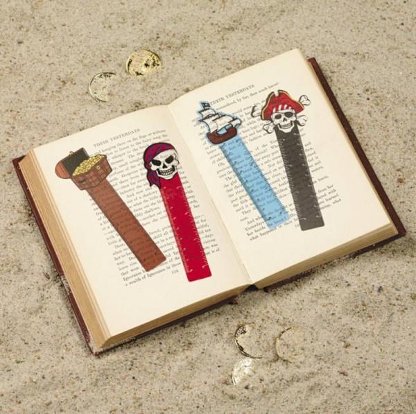 Piraten Lesezeichen mit 4 verschiedenen Motiven 12 Stück