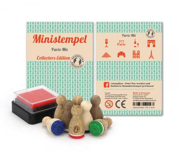 Holz-Stempel Paris Mix 8 Stück mini