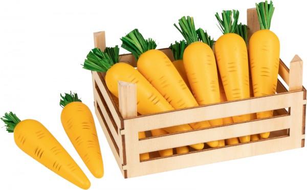 Holz-Möhren Karotten mit Gemüsekiste für Kaufmannsladen Holzküche Holzkinderküche