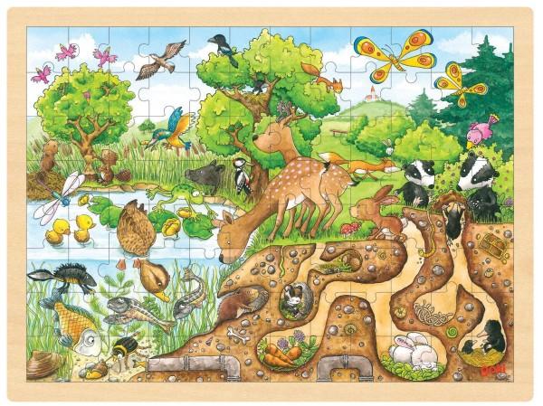 Puzzle aus Holz Einlegepuzzle Wildnis Natur goki 96 Teile