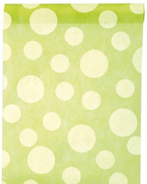 Tischläufer apfel grün mit weißen Punkten Vlies 5 Meter Rolle