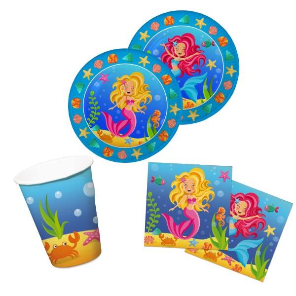 Meerjungfrau Motto-Party-Set A Tischdeko 36-teilig Kindergeburtstag