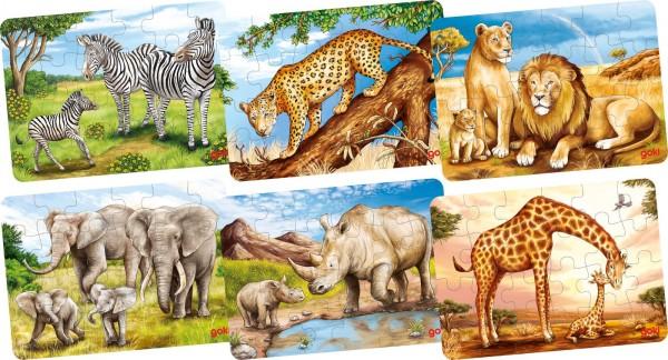 Mini-Puzzle aus Holz Safari-Tiere von goki