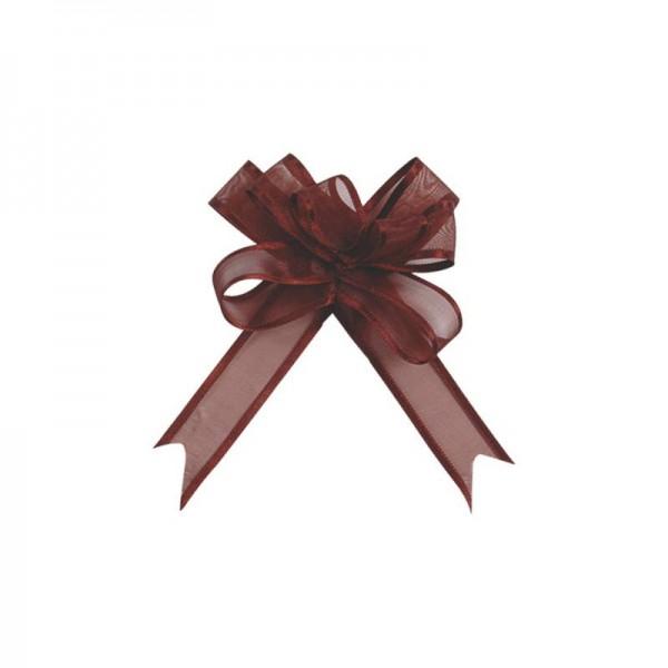 Ziehschleifen Geschenkschleifen braun 14cm x 10cm aus Organza mit Satinkante 5 Stück