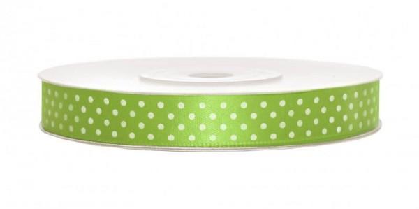 Geschenkband Schleifenband Satin Apfel-Grün mit Weißen Punkten 25m Rolle