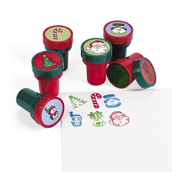 Kinderstempel Stempel Weihnachtsmann Schneemann Zuckerstange 6 Stück