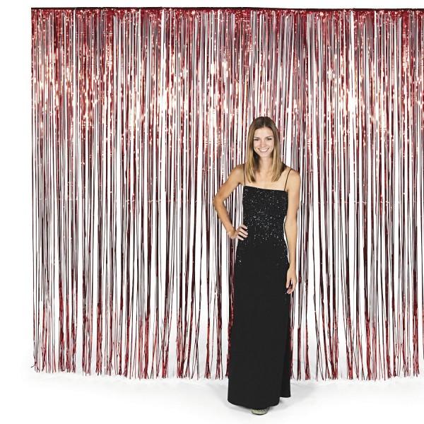 Vorhang rot metallic Streifenvorhang Türvorhang Raumdekoration
