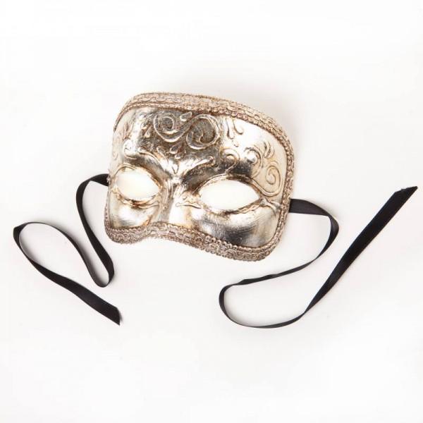 Venezianische Maske Domino Foglia Silber
