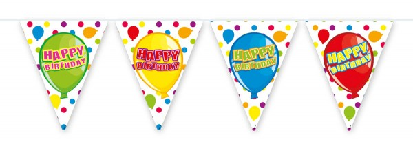 Happy Birthday Wimpelkette aus PVC mit Luftballon Motiv
