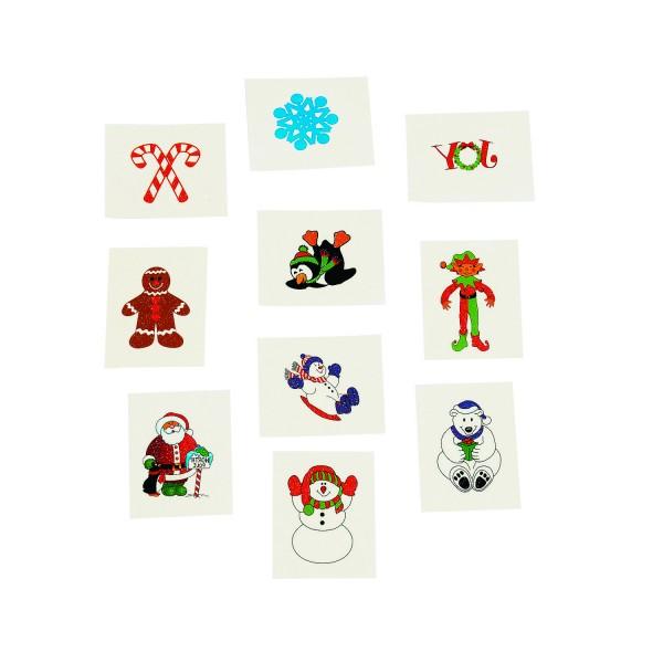 Kindertattoos Weihnachtsmann Schneemann Pinguin Elf mit Glitzer