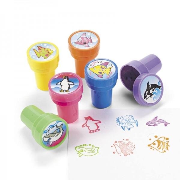Kinderstempel Stempel Orca Hai Pinguin Mitgebsel 6 Stück