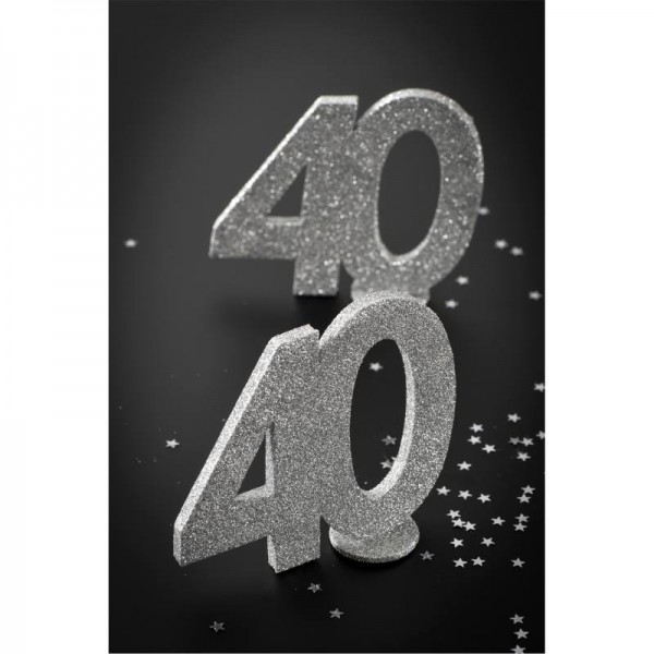 XXL Tischdeko Zahl 60 Geburtstag Silber Glitzer 1 Stück