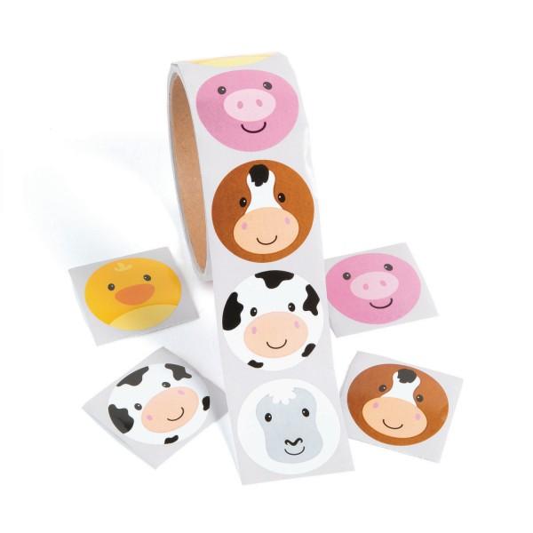 Bauernhof Farm Tiere-Aufkleber Sticker 100 Stück
