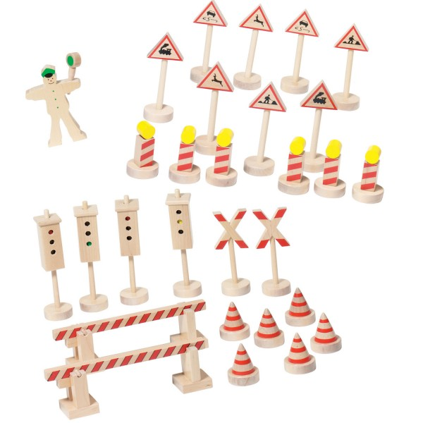 Verkehrszeichen mit Ampel aus Holz Holzspielzeug von goki