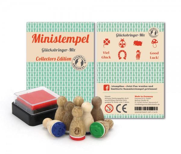 Holz-Stempel Glücksbringer Mix 8 Stück mini