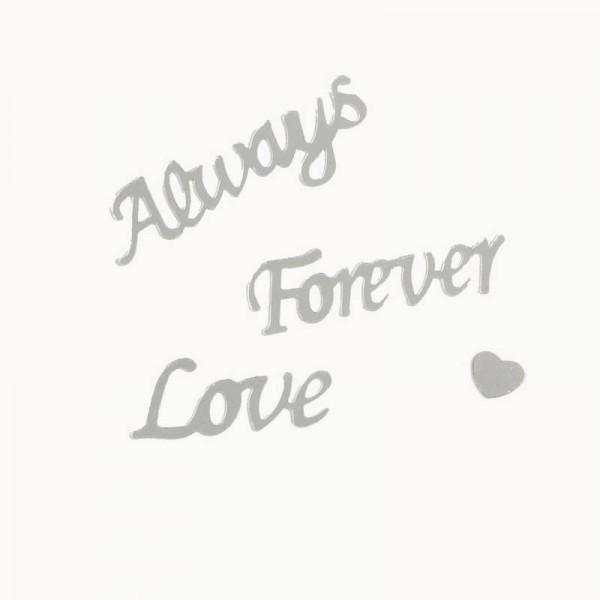 Always Forever Love Hochzeits Konfetti Silber Folienkonfetti mit Herzen