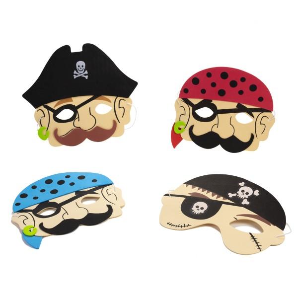 Piraten-Party Masken 4 Motive 12 Stück