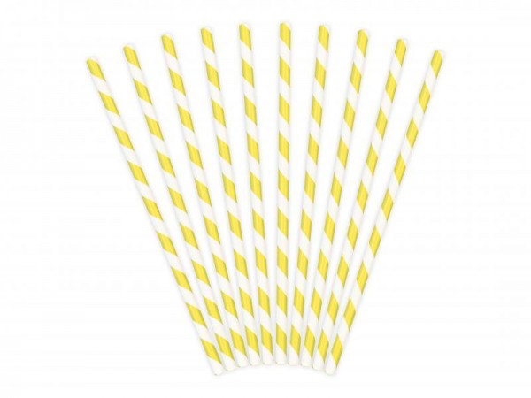 Trinkhalme Gelb und Weiß gestreift aus Pappe Strohhalme 10 Stück