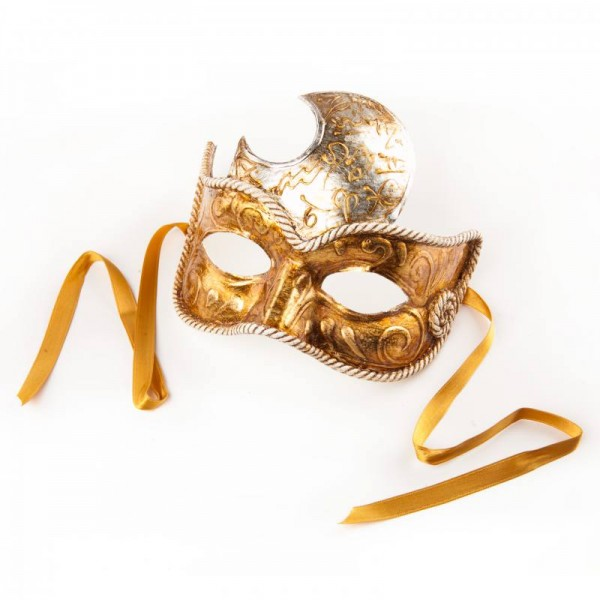 Venezianische Maske Civetta Luna Gold silber
