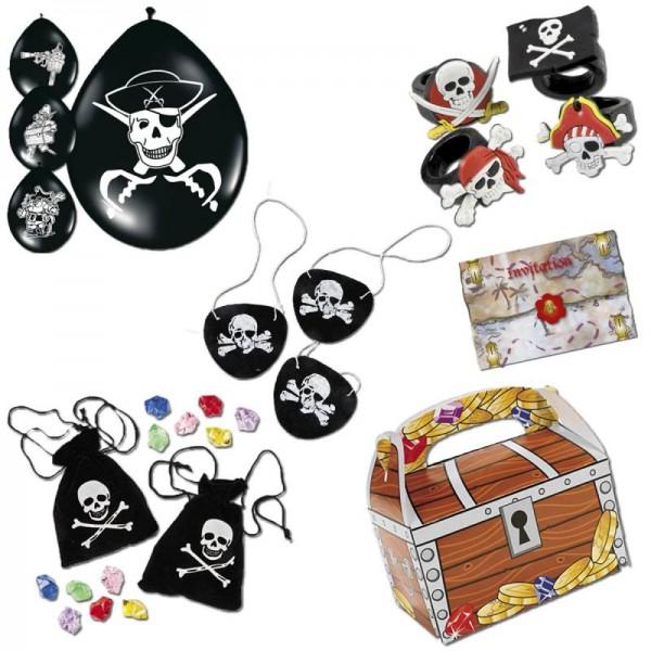 Piratenparty Mitgebsel Set D mit 120 Teilen Schatzkiste Schatzbeutel Augenklappe