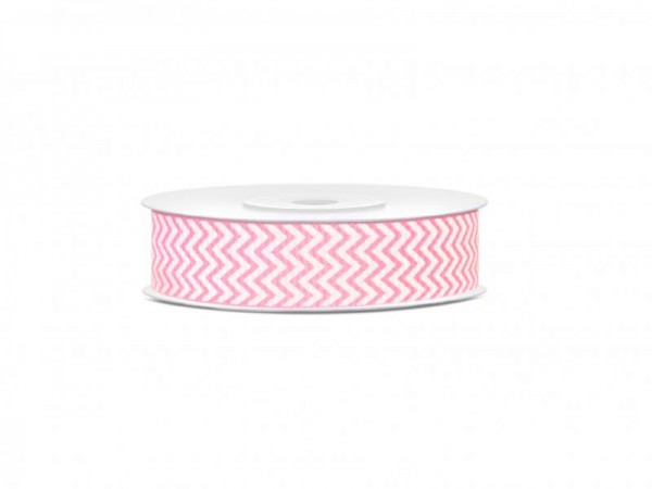 Geschenkband Schleifenband Rosa und Weiß mit Zackenmuster 10m Rolle