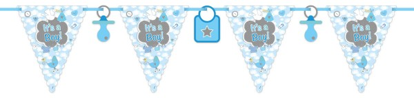 Babyshower Wimpelkette It's a Boy blau Babyparty Banner