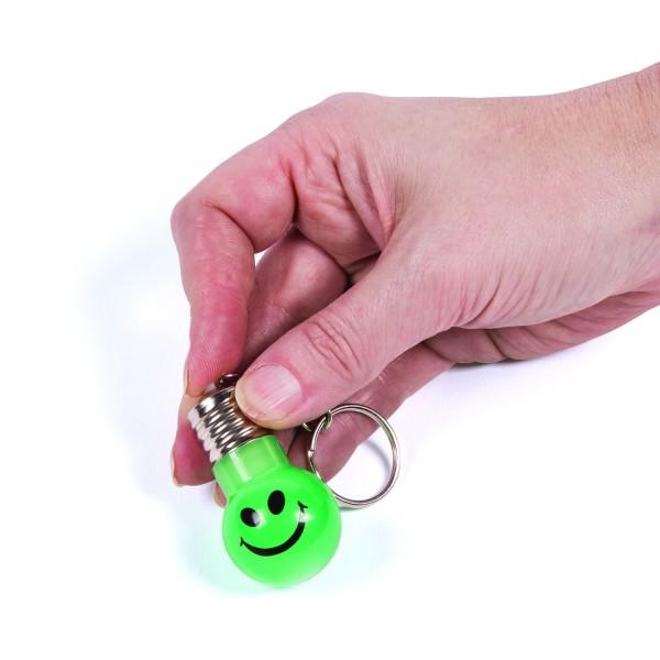 Smiley Schlüsselanhänger Glühbirne leuchtend 12 Stück mit Palandi Sticker