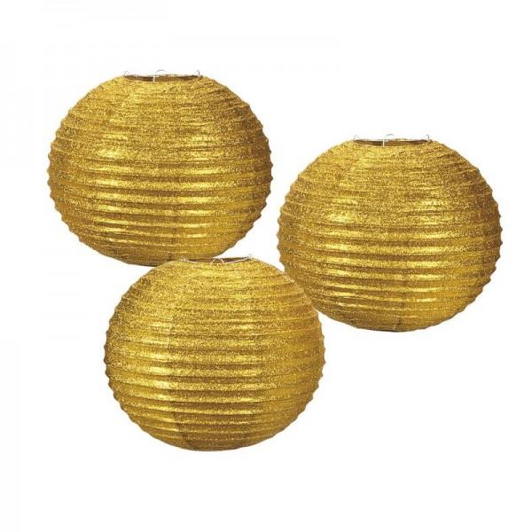 Lampion Laternenset gold glitzernd 30cm 3 Stück