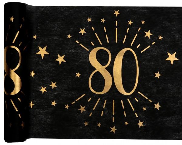 Tischläufer Vlies schwarz mit Zahl 80 Gold 5m Geburtstag