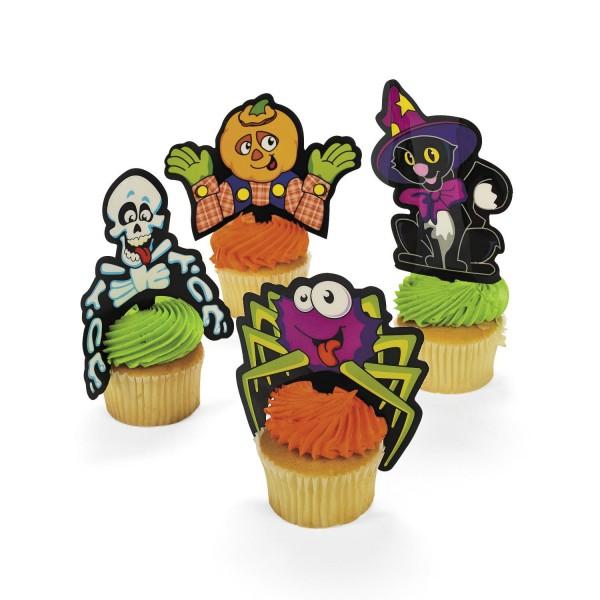Cupcake Picks Halloween Skelett Katze Spinne Kürbis