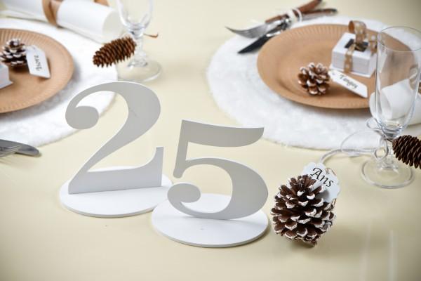 XXL Tischdeko Tisch-Zahl 3 aus Holz in Weiß Geburtstag 1 Stück