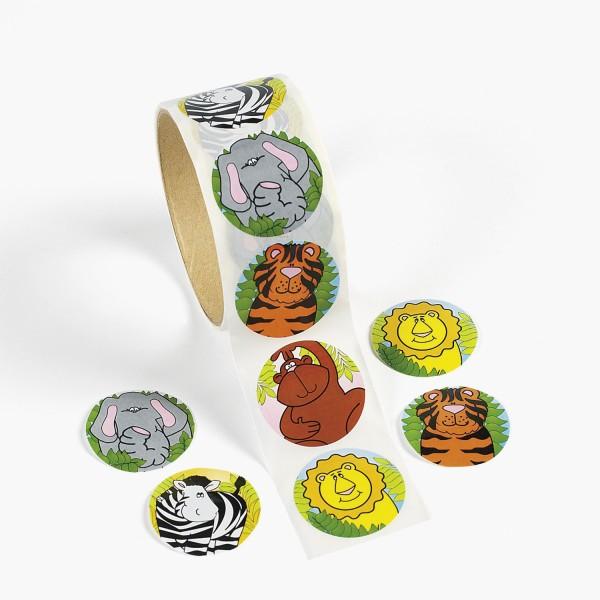 Safari Tiere Aufkleber Zebra Tiger Affe usw. Sticker 100 Stück