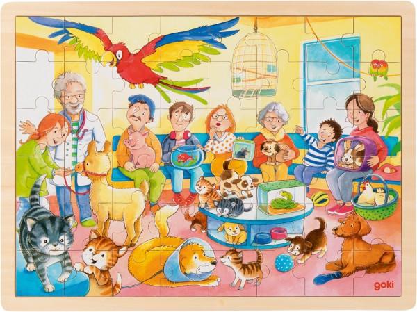 Holz-Puzzle Einlegepuzzle Tiere beim Tierarzt goki 48 Teile