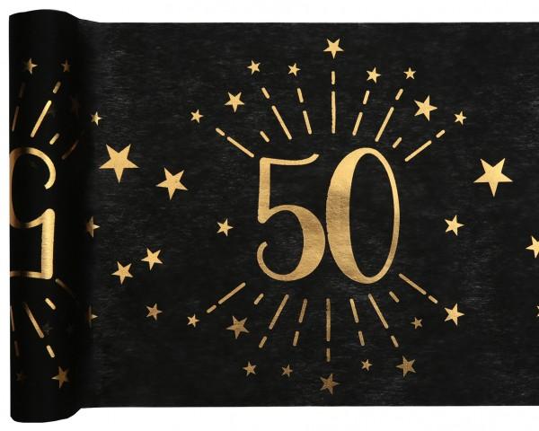 Tischläufer Vlies schwarz mit Zahl 50 Gold 5m Geburtstag