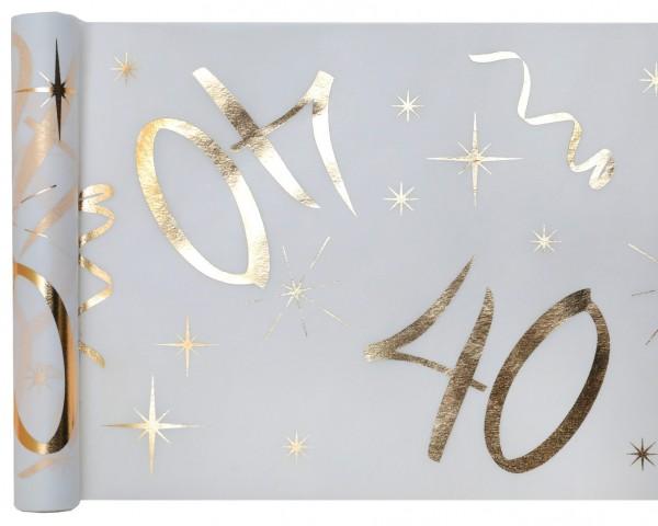 Tischläufer Vlies Zahl 40 Gold Geburtstag 5m
