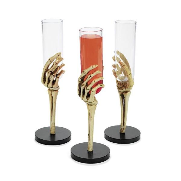 Halloween Skelett Sektgläser Sektflöten Gläser 3 Stück