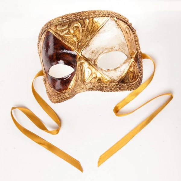 Venezianische Maske Domino Scacchi Gold Weiß Wurzelholz
