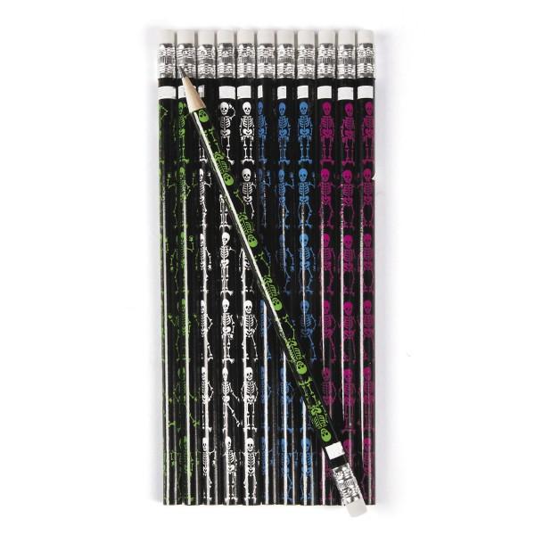 Halloween Skelett Bleistift mit Radiergummi als Mitgebsel 12 Stück