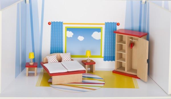 Puppenmöbel Schlafzimmer aus Holz goki basic Puppenhaus