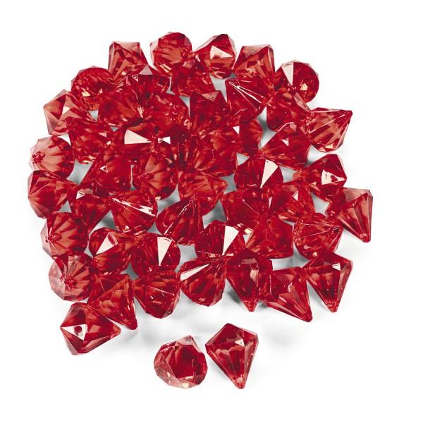 Dekosteine Diamanten aus Plastik RotTischdeko Streuteile 25 Stück