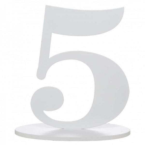 XXL Tischdeko Tisch-Zahl 5 aus Holz in Weiß Geburtstag 1 Stück